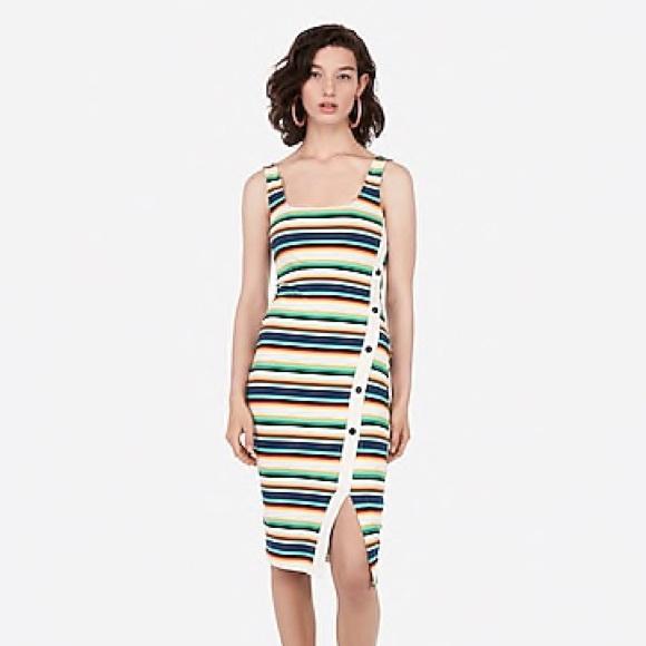 Express Dresses & Skirts - BNWT Express Stripe Dress with Asymmetrical Button
